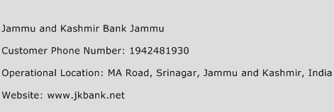 Jammu and Kashmir Bank Jammu Phone Number Customer Service