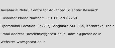 Jawaharlal Nehru Centre for Advanced Scientific Research Phone Number Customer Service
