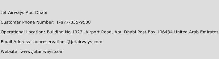 Jet Airways Abu Dhabi Phone Number Customer Service