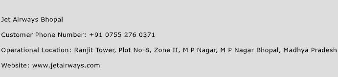 Jet Airways Bhopal Phone Number Customer Service