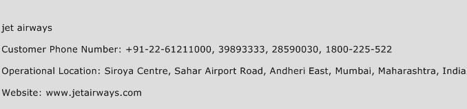 Jet Airways Phone Number Customer Service
