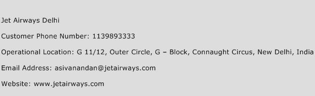 Jet Airways Delhi Phone Number Customer Service