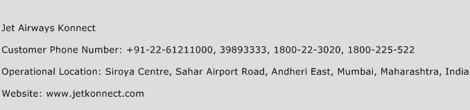 Jet Airways Konnect Phone Number Customer Service