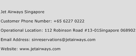 Jet Airways Singapore Phone Number Customer Service