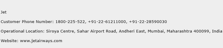 Jet Phone Number Customer Service
