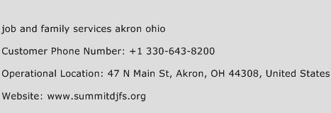 Job and Family Services Akron Ohio Phone Number Customer Service