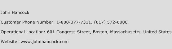 John Hancock Phone Number Customer Service