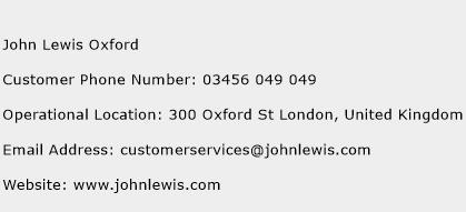 John Lewis Oxford Phone Number Customer Service
