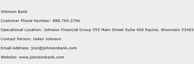 Johnson Bank Phone Number Customer Service