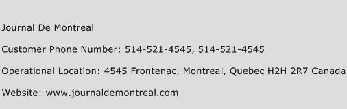 Journal De Montreal Phone Number Customer Service