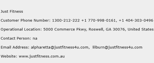 Just Fitness Phone Number Customer Service