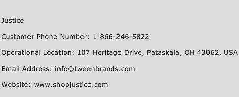 Justice Phone Number Customer Service