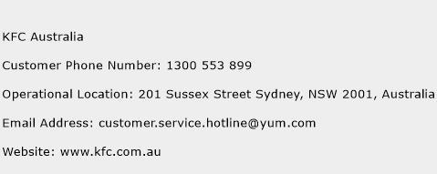 KFC Australia Phone Number Customer Service