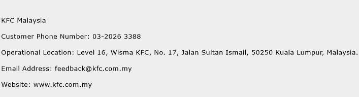KFC Malaysia Phone Number Customer Service