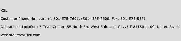 KSL Phone Number Customer Service