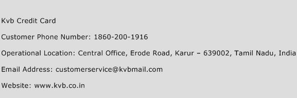 KVB Credit Card Phone Number Customer Service