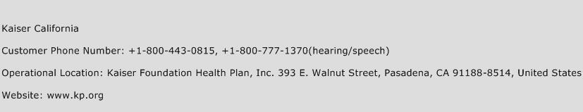 Kaiser California Phone Number Customer Service
