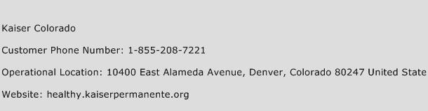 Kaiser Colorado Phone Number Customer Service