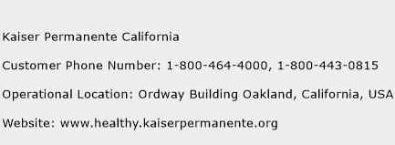 Kaiser Permanente California Customer Service Phone Number ...
