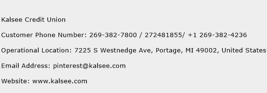 Kalsee Credit Union Phone Number Customer Service