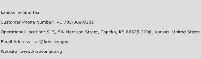 Kansas Income Tax Phone Number Customer Service