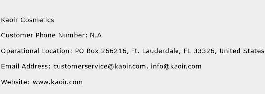 Kaoir Cosmetics Phone Number Customer Service