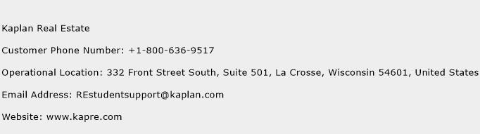 Kaplan Real Estate Phone Number Customer Service