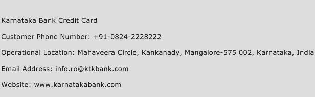 Karnataka Bank Credit Card Phone Number Customer Service