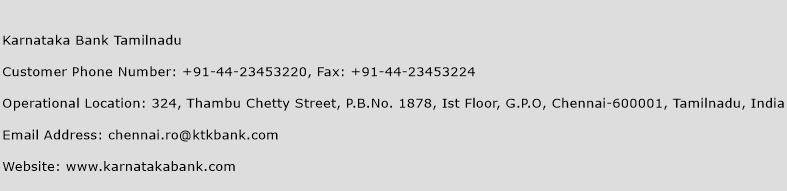 Karnataka Bank Tamilnadu Phone Number Customer Service