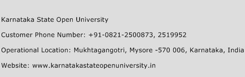 Karnataka State Open University Phone Number Customer Service
