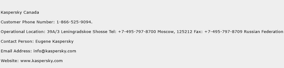 Kaspersky Canada Phone Number Customer Service