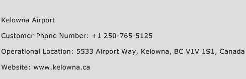 Kelowna Airport Phone Number Customer Service