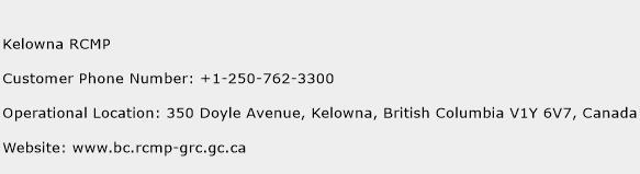 Kelowna RCMP Phone Number Customer Service