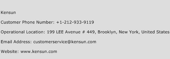 Kensun Phone Number Customer Service