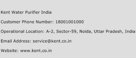 Kent Water Purifier India Phone Number Customer Service