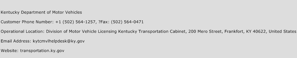 Kentucky Department of Motor Vehicles Phone Number Customer Service