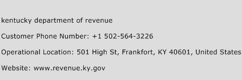 Kentucky Department of Revenue Phone Number Customer Service
