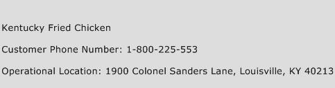 Kentucky Fried Chicken Phone Number Customer Service