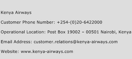 Kenya Airways Phone Number Customer Service