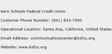 Kern Schools Federal Credit Union Phone Number Customer Service