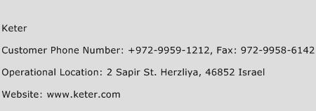 Keter Phone Number Customer Service
