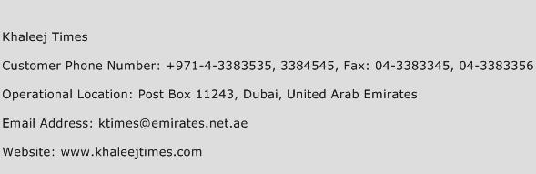 Khaleej Times Phone Number Customer Service