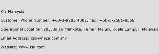 Kia Malaysia Phone Number Customer Service
