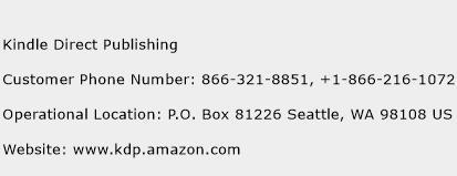 Kindle Direct Publishing Phone Number Customer Service