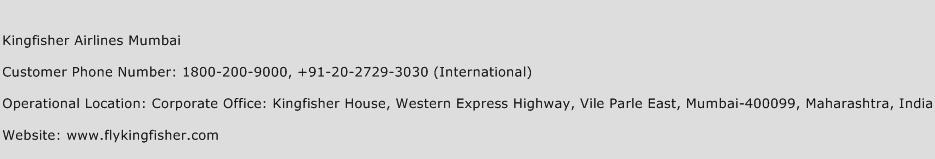 Kingfisher Airlines Mumbai Phone Number Customer Service