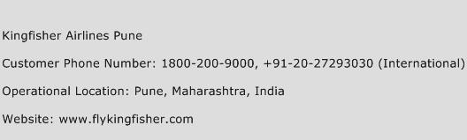 Kingfisher Airlines Pune Phone Number Customer Service