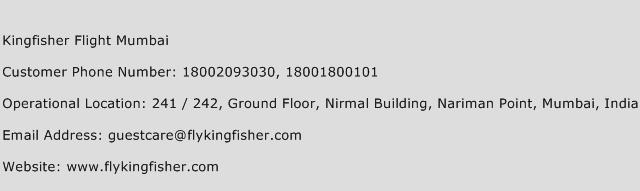 Kingfisher Flight Mumbai Phone Number Customer Service