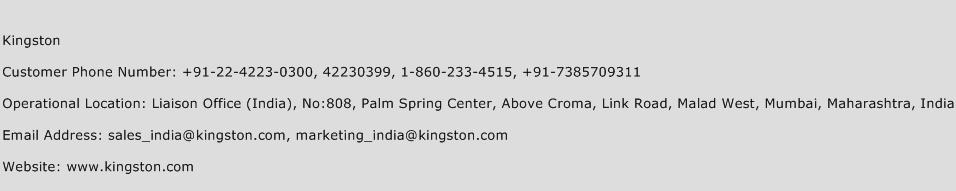 Kingston Phone Number Customer Service