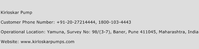 Kirloskar Pump Phone Number Customer Service