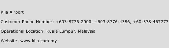 Klia Airport Phone Number Customer Service